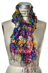 Silk Puckered Scarf- Dark Multi