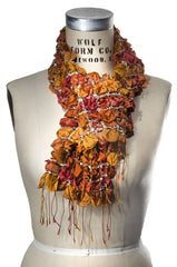 Silk Puckered Scarf- Orange