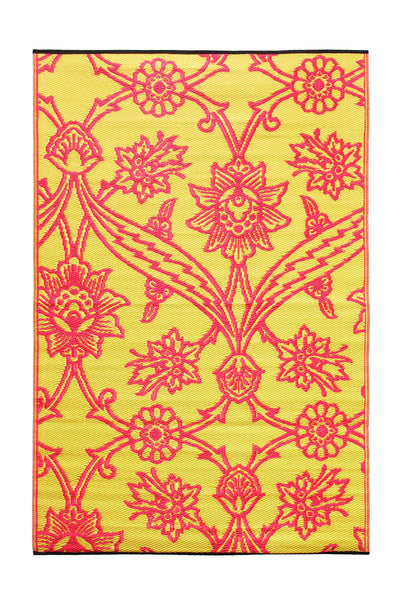 Fuchsia Flowers- Persimmon: 4X6 Indoor/outdoor floor mat