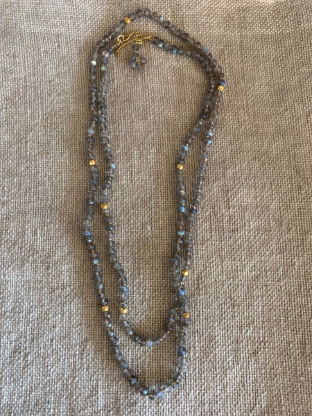 Labrodite and 18k gold hand knotted and hand tied necklace