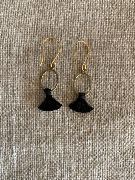 Tassel Black & Brass Earrings