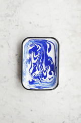 Blue Enamel Swirl Tray Rectangle