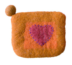 Orange Heart Felt Purse