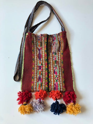 Crossbody Vintage Bags with Pom Poms
