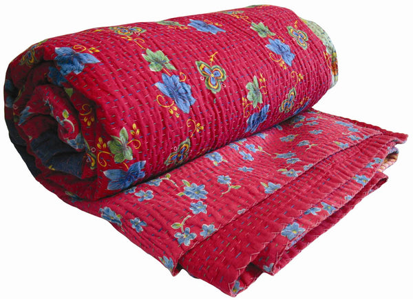 Red Pastel Kantha Coverlet