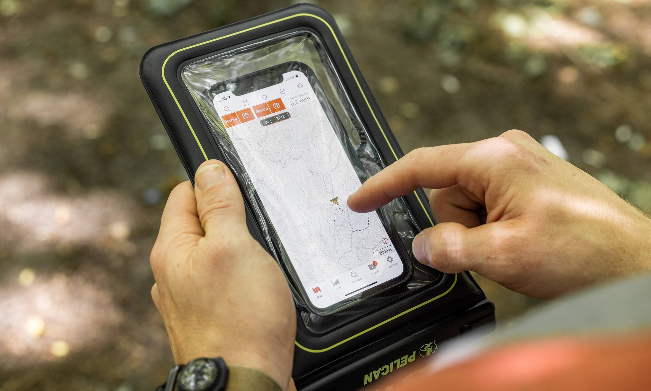 Using phone with waterproof pouch