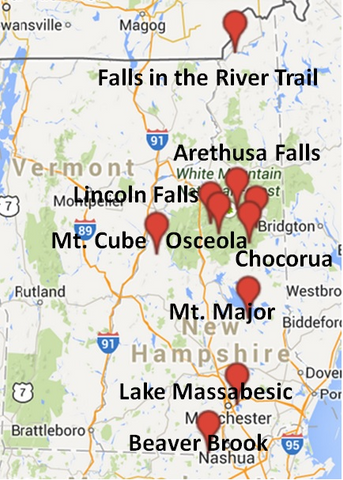 Map of dog friendly hiking locations in New Hampshire