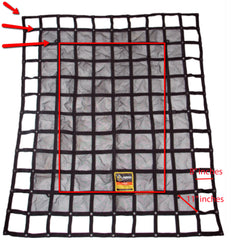 Gladiator cargo net reference sizes with grommets. Net sizing guide.
