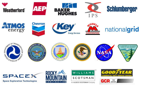 AEP, Baker Hughes, IPS, Sclumberger, Atmos, Chevron, Key, Michels, Nationalgrid, DOD, NASA, DOA, DOJ, SpaceX, Goodyear, Rocky Moutnain construction, GCR tire centers,