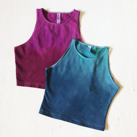 Two-Tone Ombré Dyed Yoga Crop Tops