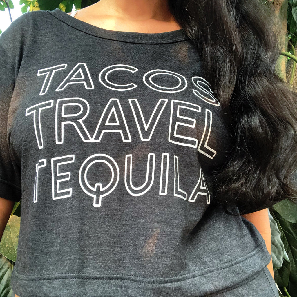 Tacos Travel Tequila Crop Tee