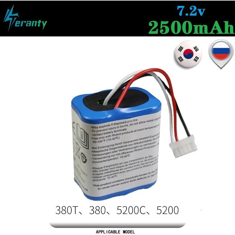 Original 7.2V 2500mAh Battery for iRobot Roomba Braava 380 380T Mint 5200c Ni-MH 2500mAh 2.5Ah 7.2v Rechargeable battery 1Pcs