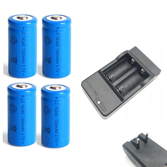 1300mAh 3.7V Li-ion Rechargeable 16340 Batteries CR123A Battery For LED Flashlight Travel Wall Charger For 16340 CR123A Battery