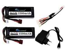 Load image into Gallery viewer, Original Wltoys 144001 2s 7.4 V 3500mAh rechargable Lipo battery and a Charger for Wltoys 1/14 144001 RC car boat Lipo battery