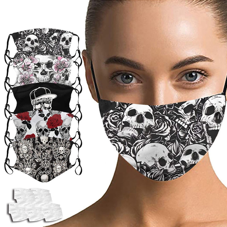 Crâne impression respirant mode Cutton masque en plein air lavable réutilisation masque facial Protection bouche couverture masque Halloween Cosplay