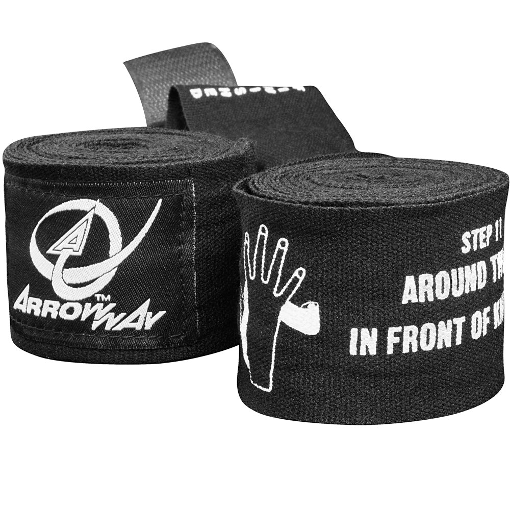 ArrowWay Instructional Hand Wraps for Boxing & MMA - Black