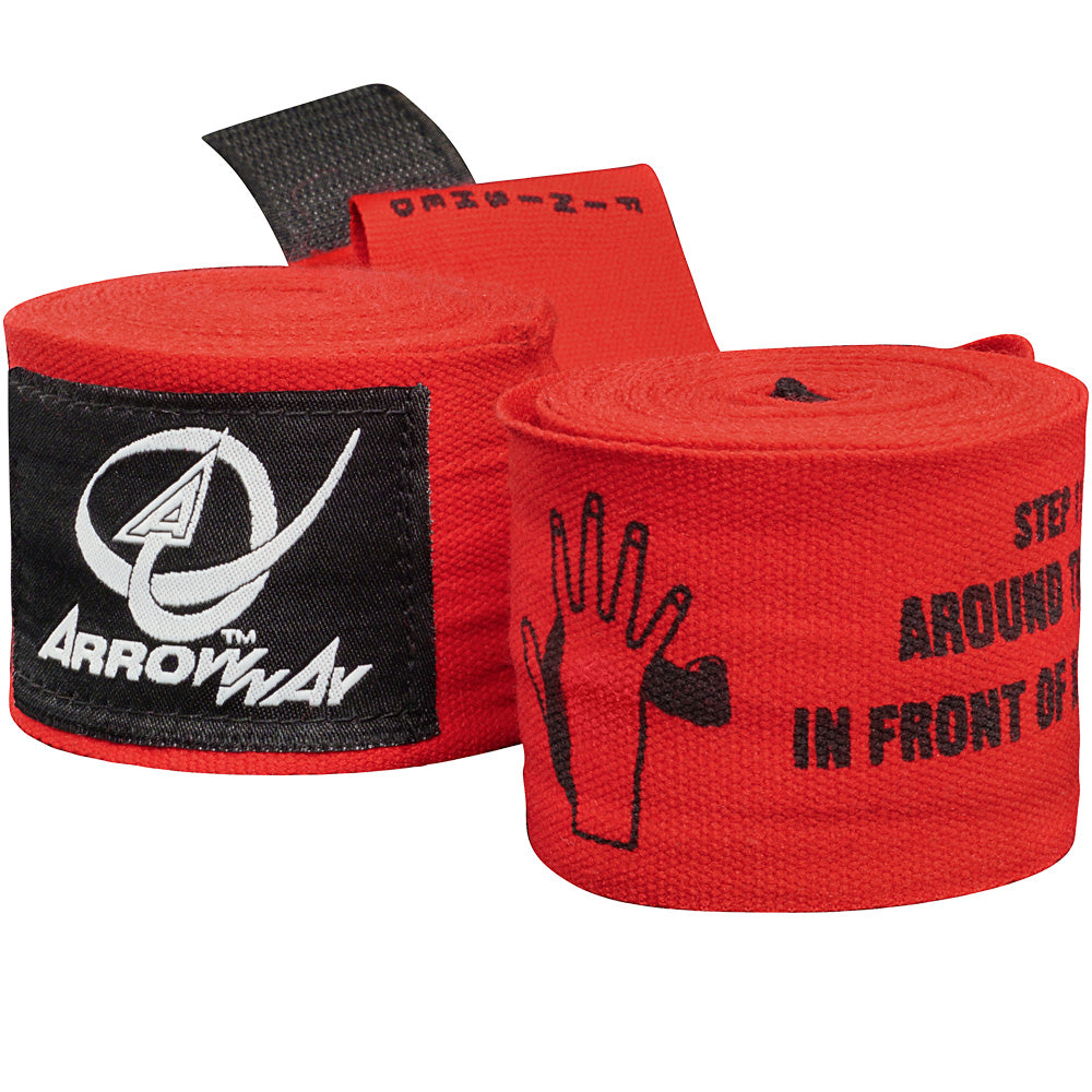 ArrowWay Instructional Hand Wraps for Boxing & MMA - Red