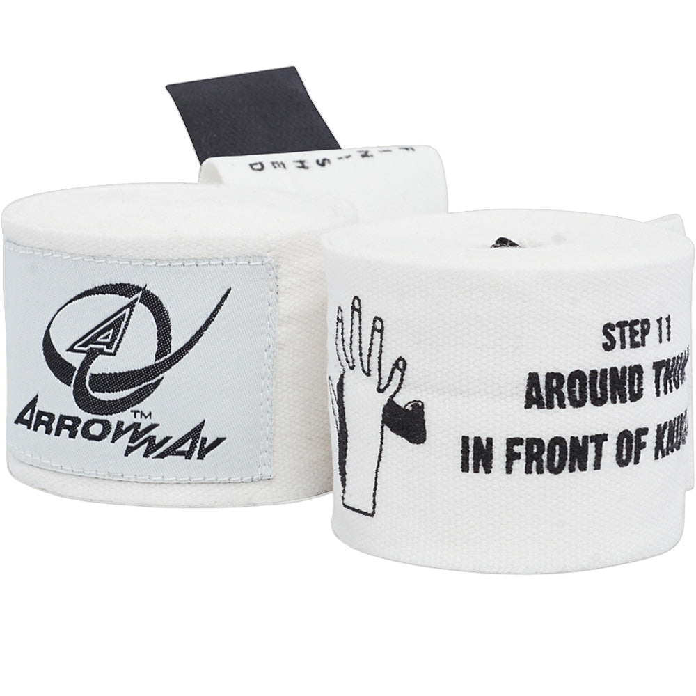 ArrowWay Instructional Hand Wraps for Boxing & MMA - White