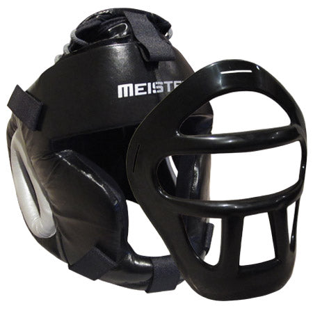Meister Leather Head Guard w/ Removable Face Mask for MMA & Boxi