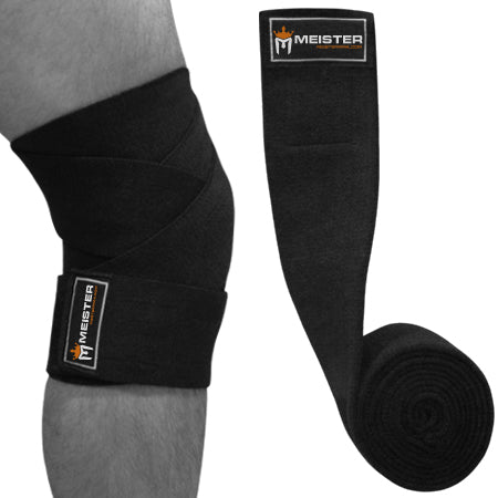 "72"" Power Knee Wraps w/ Hook Closures (Pair) - Black"