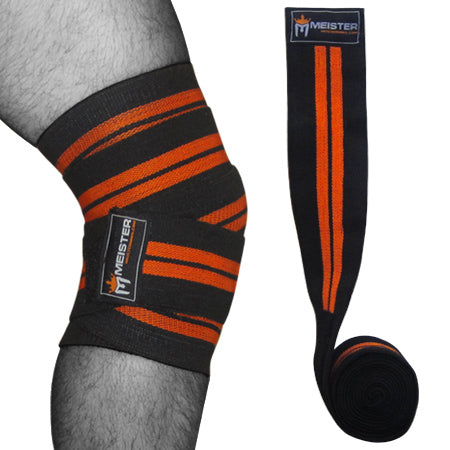 "72"" Power Knee Wraps w/ Hook Closures (Pair) - Black / Orange"