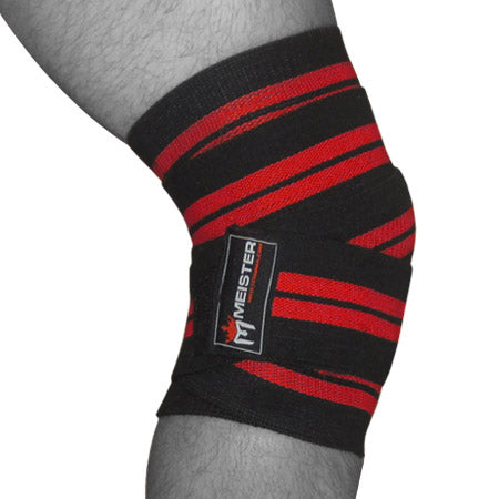 "72"" Power Knee Wraps w/ Hook Closures (Pair) - Black / Red"