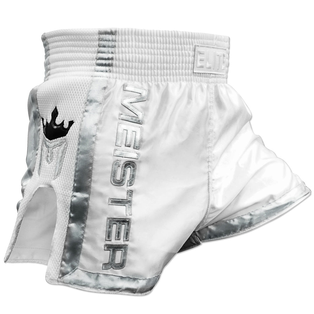 Meister ELITE Muay Thai Shorts - White/Silver