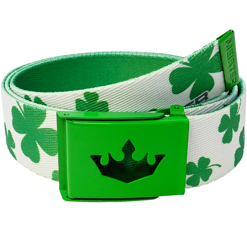 Meister Player Web Golf Belt - Lucky Clovers