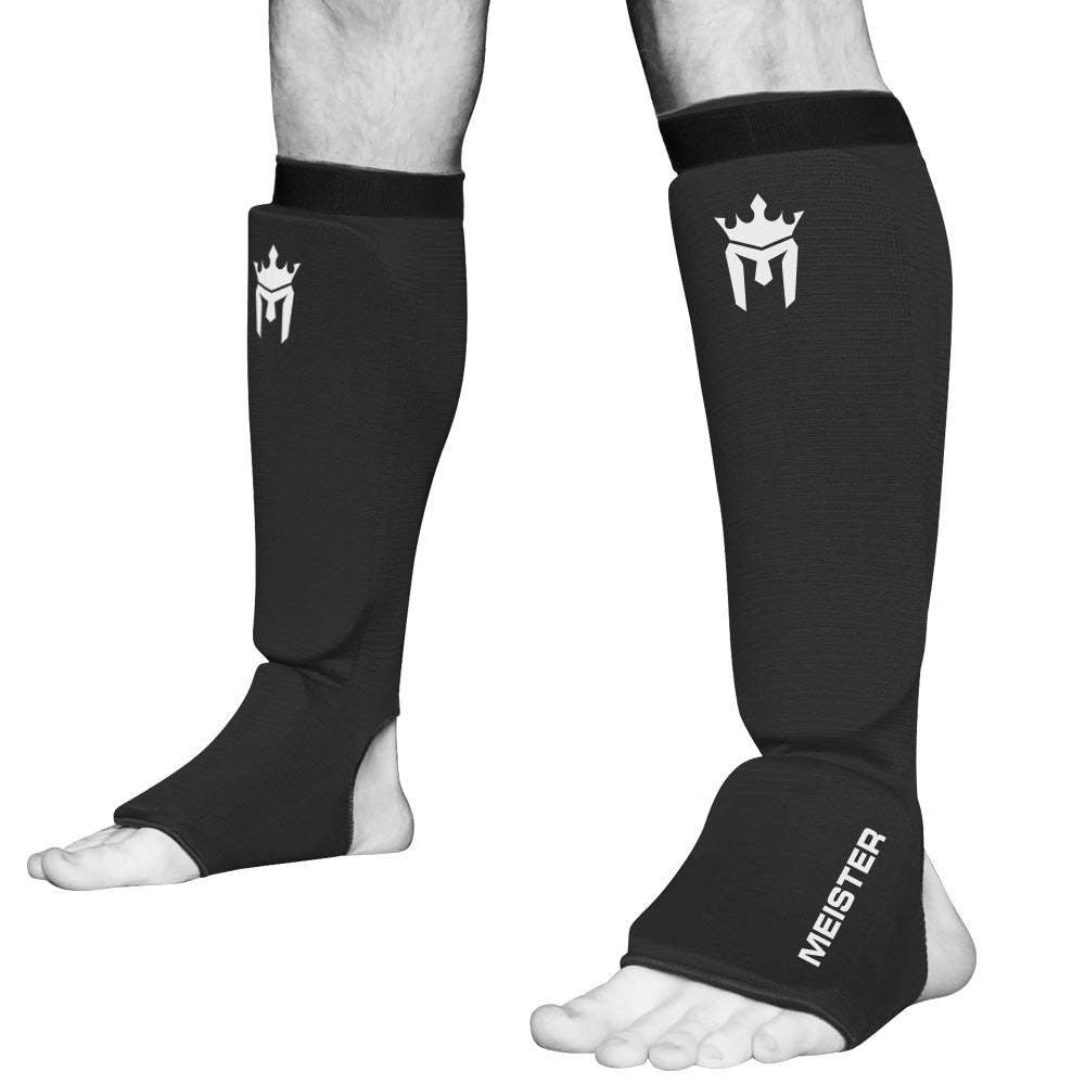 Meister Elastic Cloth Shin & Instep Padded Guards (Pair) - Black