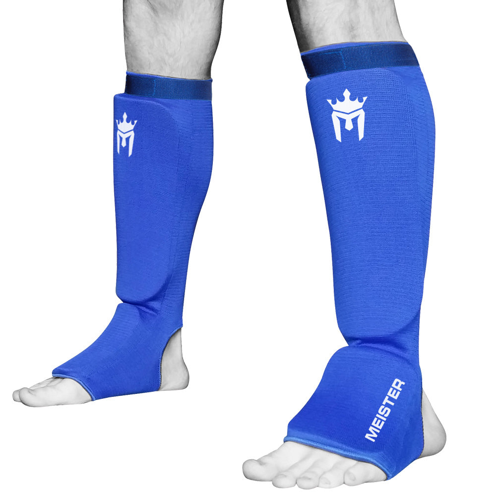 Meister Elastic Cloth Shin & Instep Padded Guards (Pair) - Blue