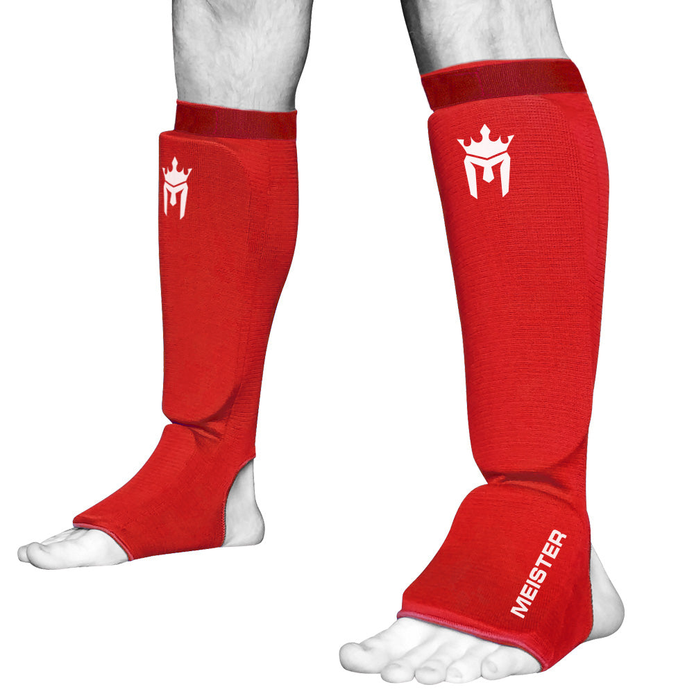 Meister Elastic Cloth Shin & Instep Padded Guards (Pair) - Red