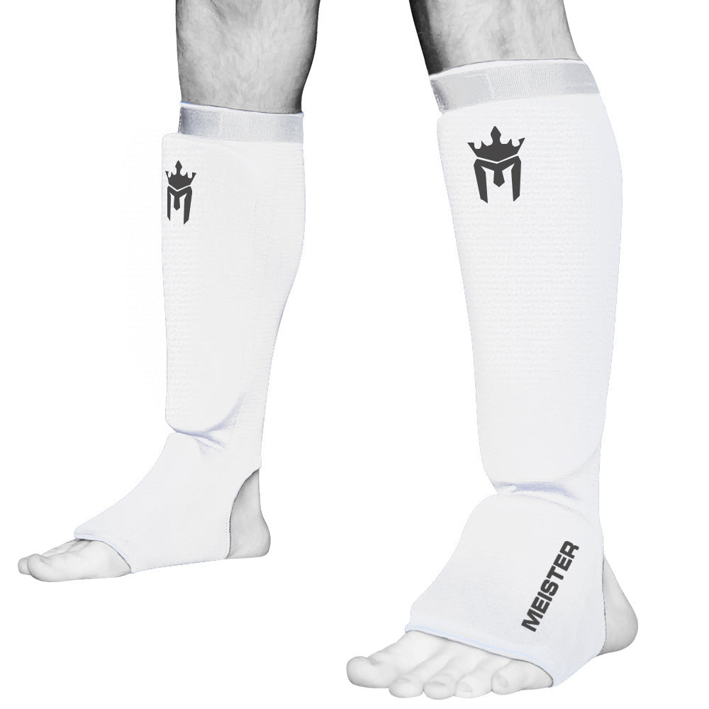 Meister Elastic Cloth Shin & Instep Padded Guards (Pair) - White
