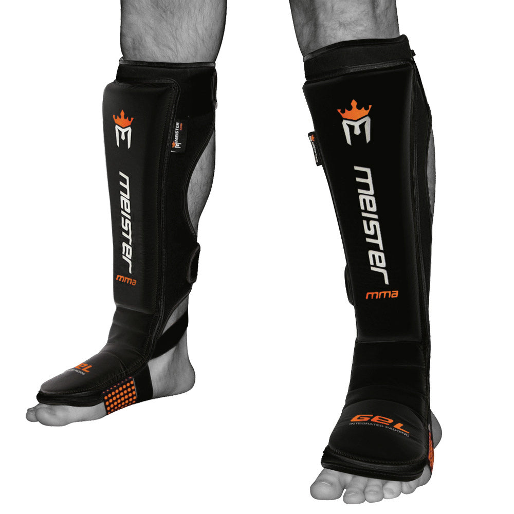 Meister EDGE Leather Shin Guards w/ Gel Padding (Pair) - Black