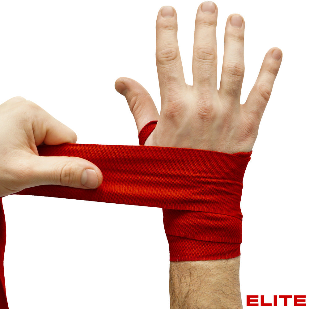 "Meister ELITE 180"" Elastic Hand Wraps - 2 Pack - Black / Red"