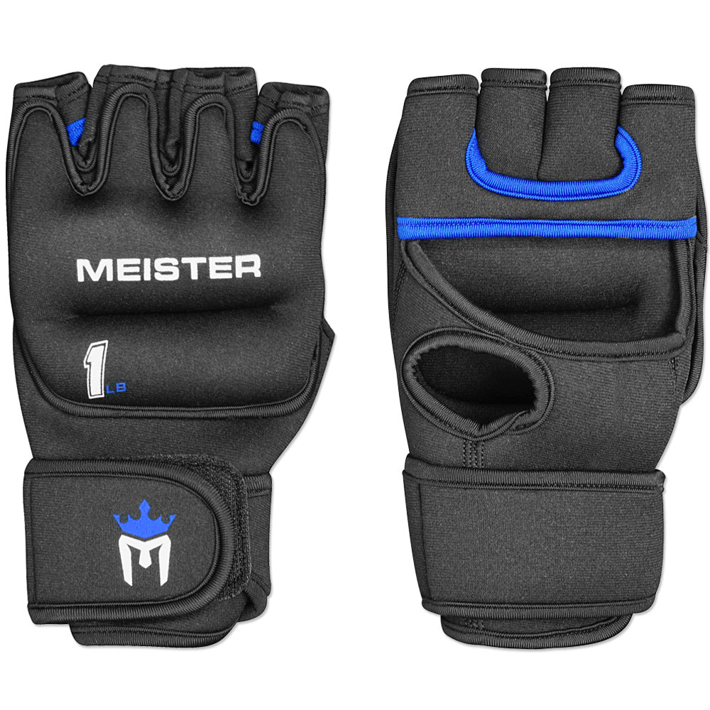 Meister 1lb Neoprene Weighted Gloves - Black/Blue (Pair)