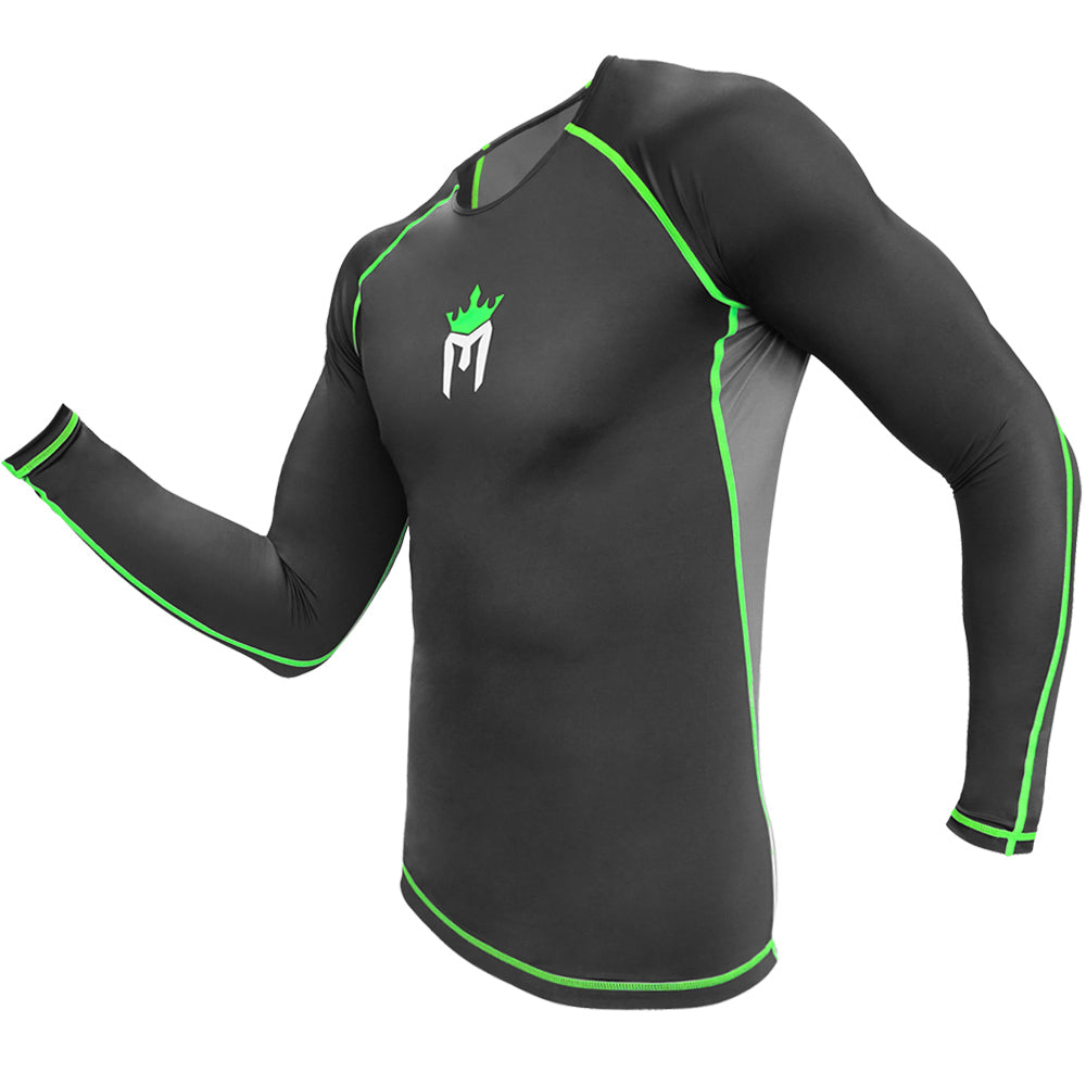 Meister Rush Long-Sleeve Rash Guard - Black/Neon Green