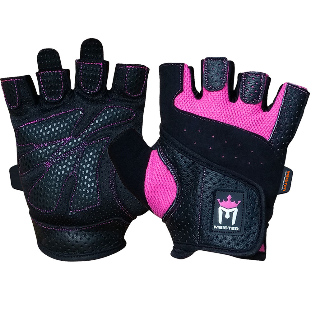 Meister Women's Fit Weight Lifting Gloves - Black/Pink