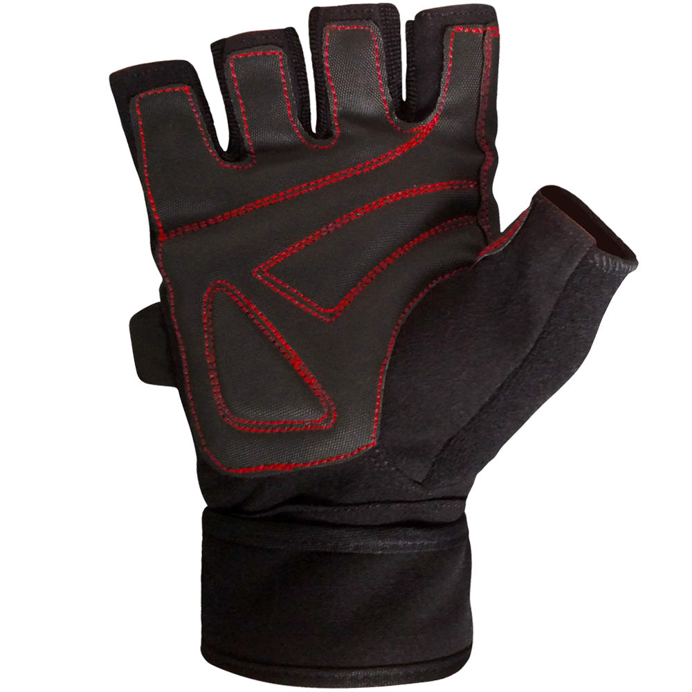 Wrist Wrap Weight Lifting Gloves w/ Gel Padding - Black/Red
