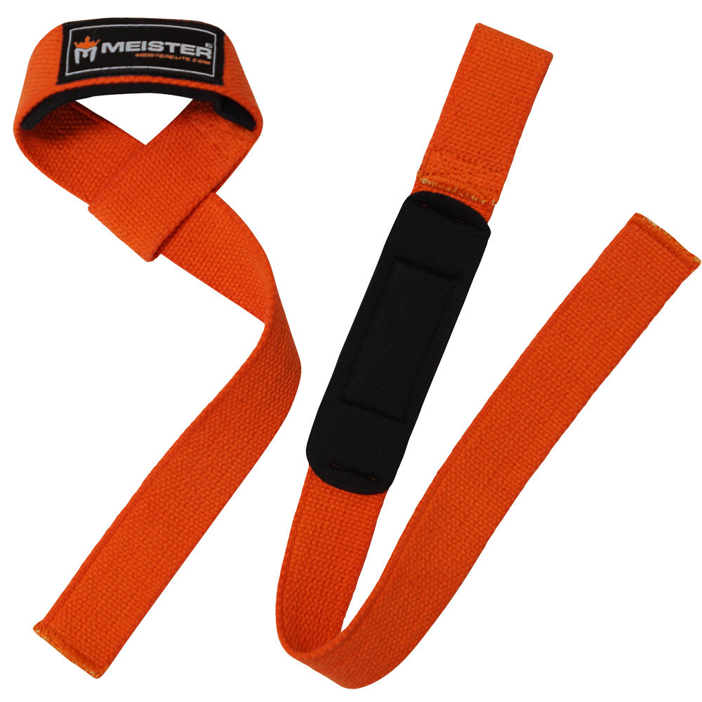 Neoprene-Padded Lifting Straps (Pair) - Orange