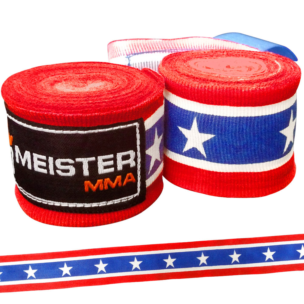 "180"" Semi-Elastic Hand Wraps for MMA & Boxing (Pair) - American"