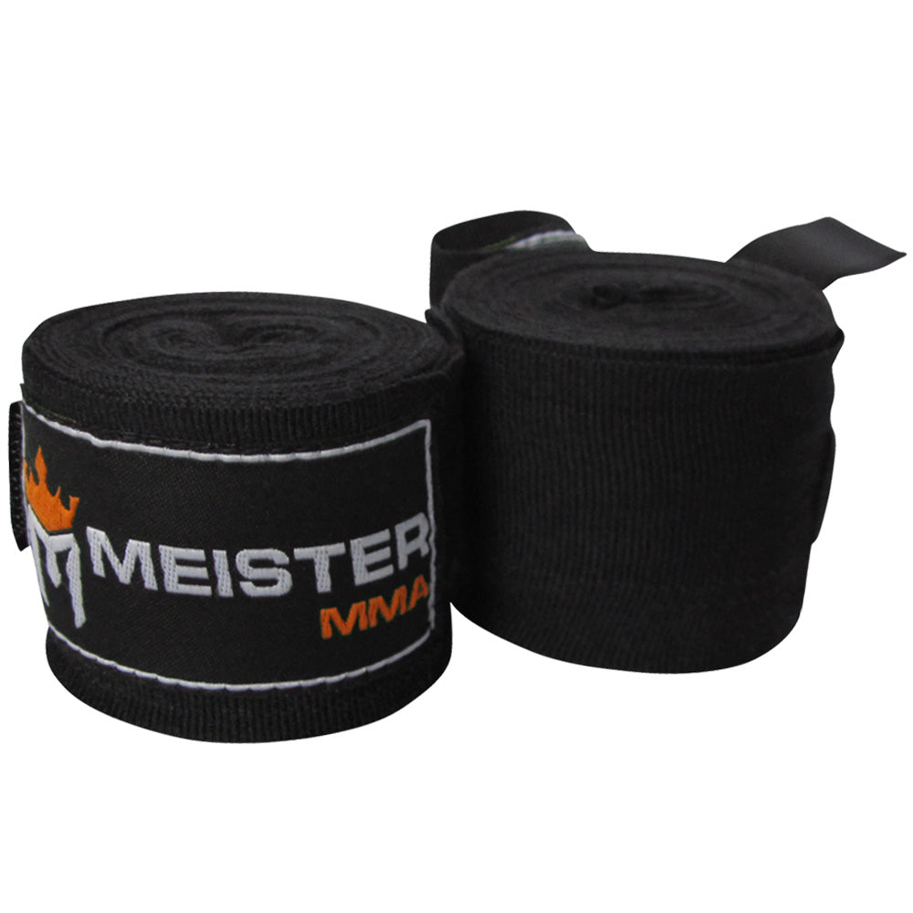 "180"" MMA Hand Wraps (Pair) - Black"