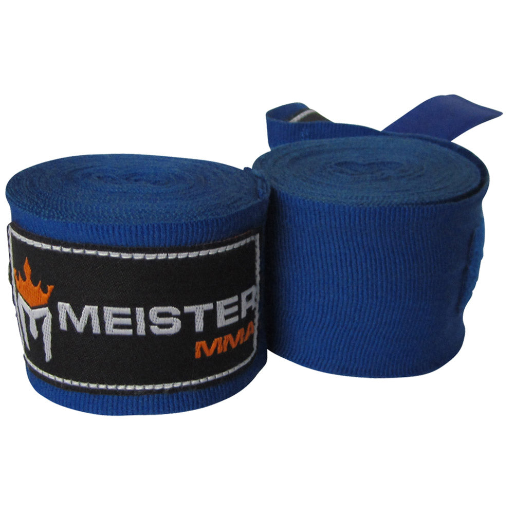 "180"" Semi-Elastic Hand Wraps for MMA & Boxing (Pair) - Blue"