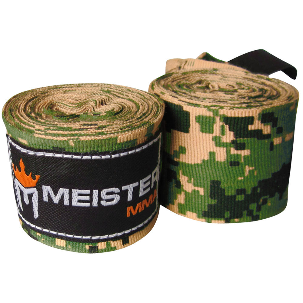"180"" Semi-Elastic Hand Wraps for MMA & Boxing (Pair) - Army Camo"