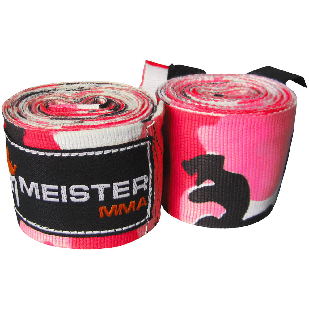 "180"" Semi-Elastic Hand Wraps for MMA & Boxing (Pair) - Pink Camo"