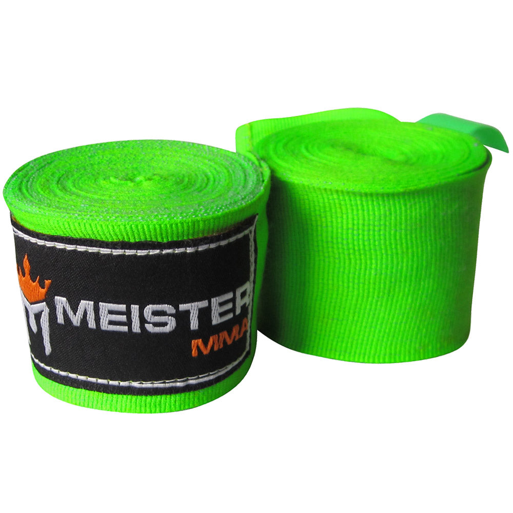 "180"" Semi-Elastic Hand Wraps for MMA & Boxing (Pair)-Neon Green"