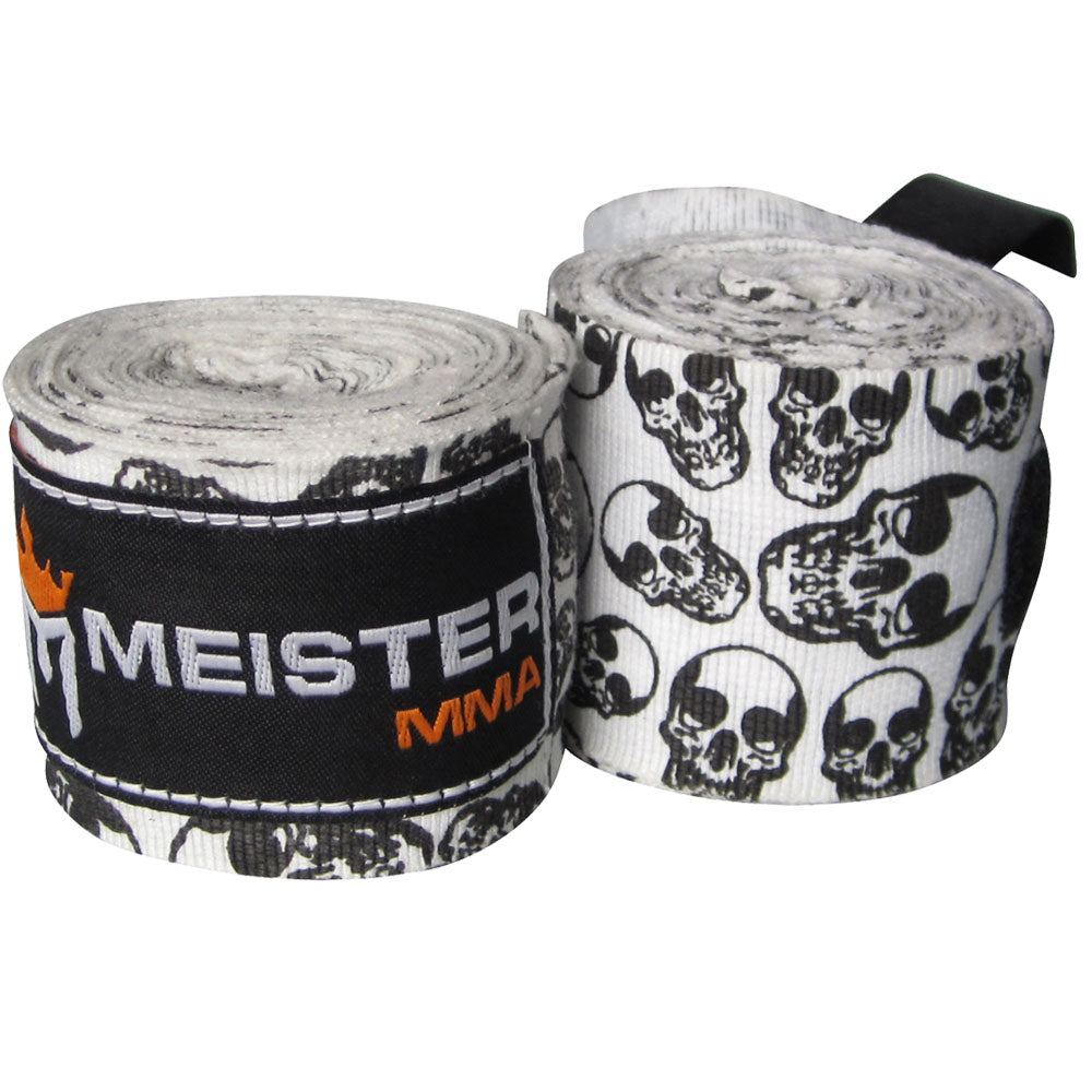 "180"" Semi-Elastic Hand Wraps (Pair) - Death Skulls"