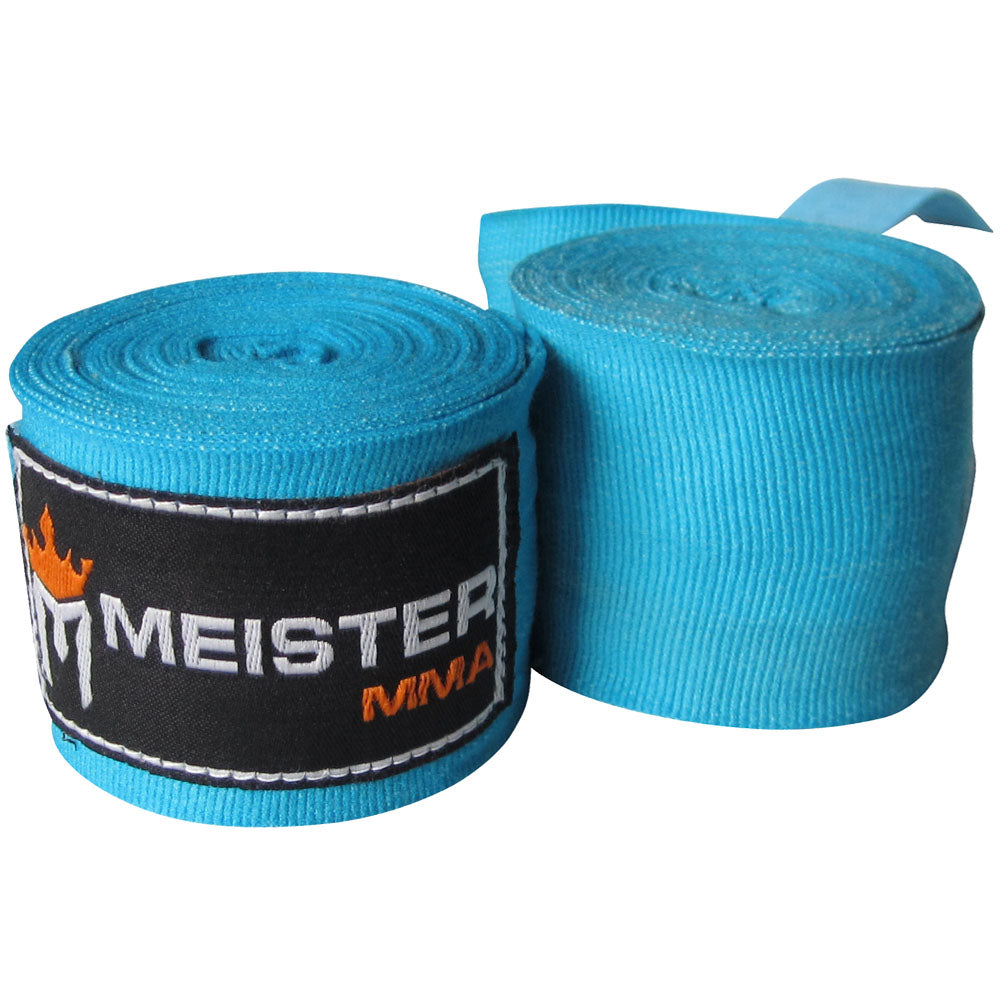 "180"" Semi-Elastic Hand Wraps for MMA & Boxing (Pair) - Turquoise"