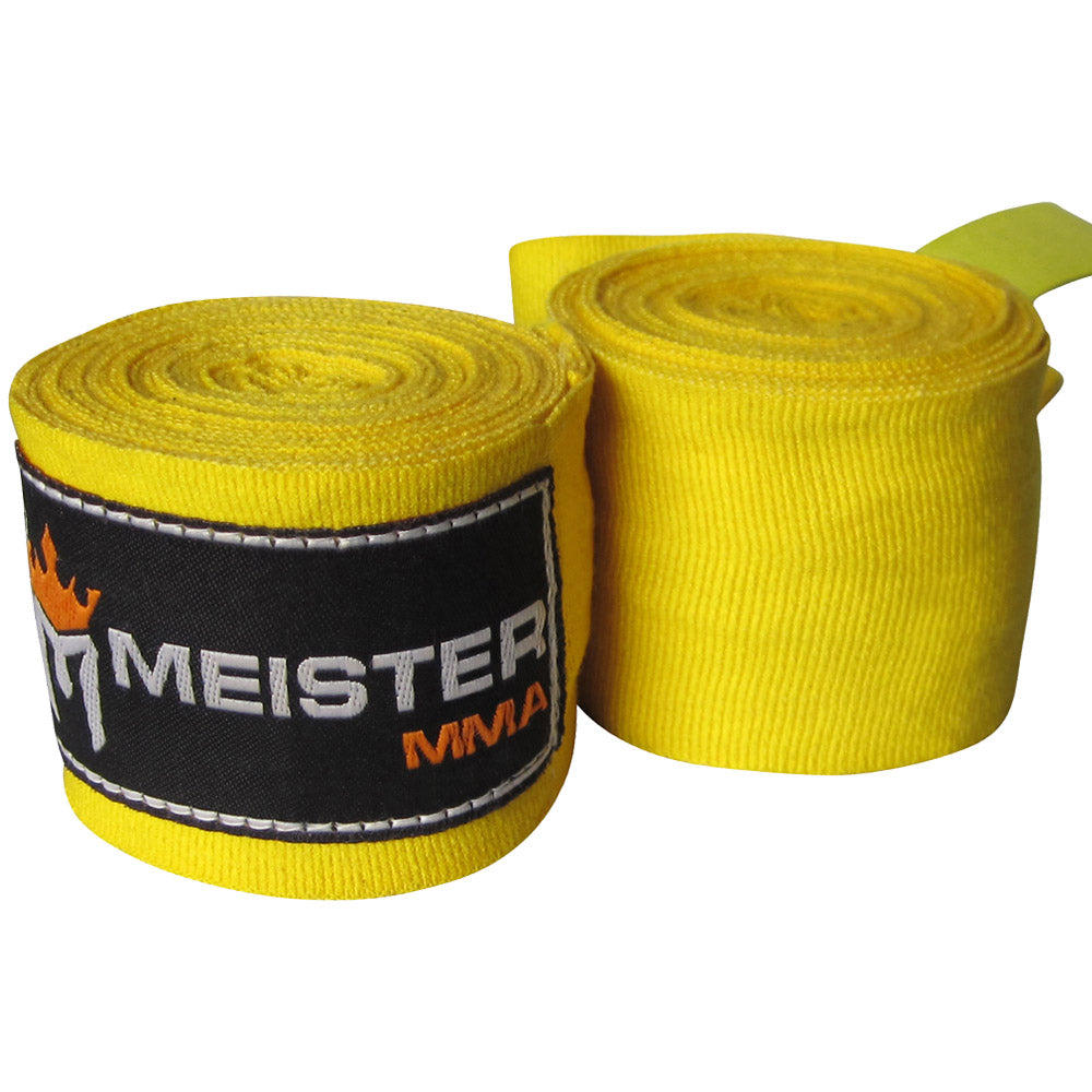 "180"" Semi-Elastic Hand Wraps for MMA & Boxing (Pair) - Yellow"