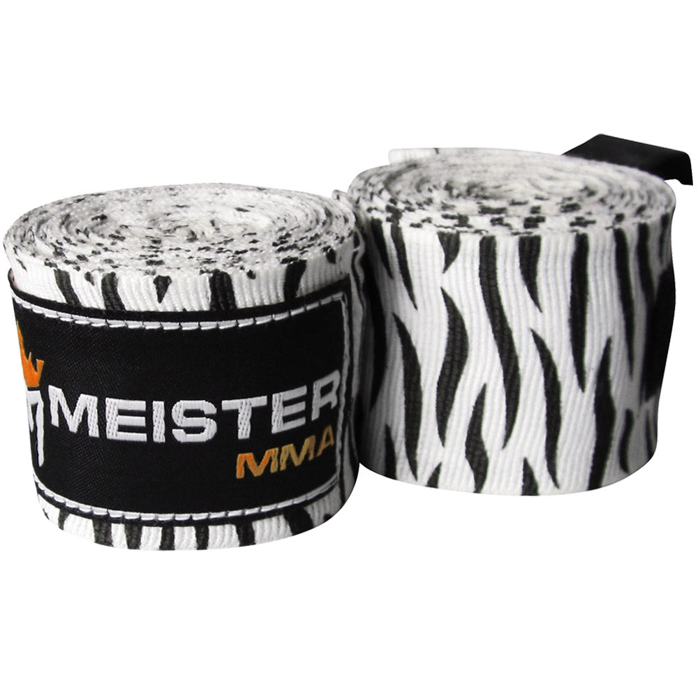 "180"" Semi-Elastic Hand Wraps (Pair) - Zebra Stripes"