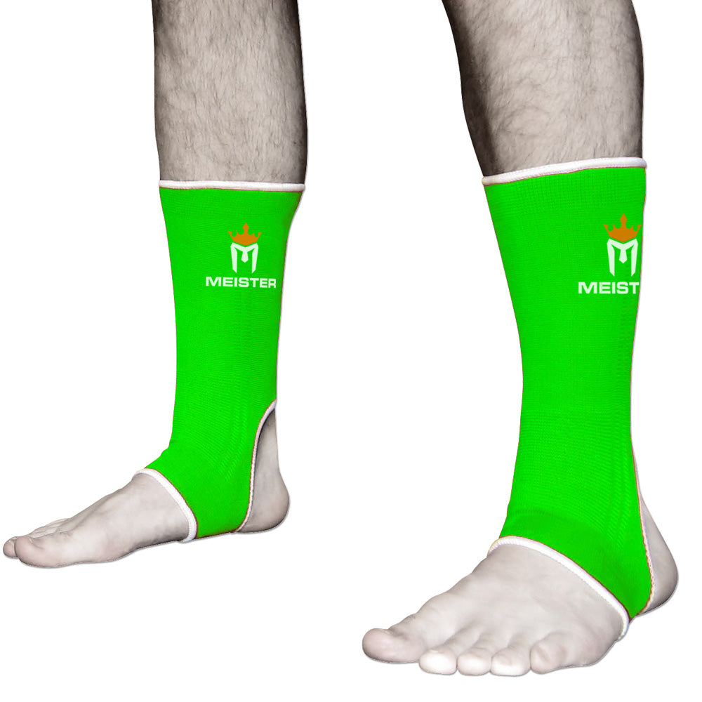 Muay Thai MMA Ankle Support Wraps (Pair) - Adult Neon Green